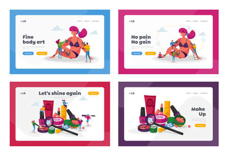 Tattoo, Cosmetics Salon Landing Page Template Set. Tiny Master Characters with Professional Equipment, Inks and Cosmetic