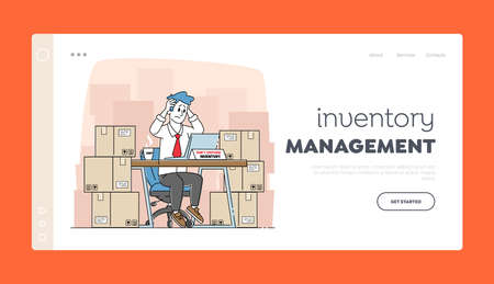 Logistic Program for Accounting Freights Landing Page Template. Tired Inventory Manager Male Character Sit in Warehouse with Stacks of Carton Boxes Working on Computer. Linear Vector Illustration