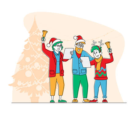 Happy Family Characters Wearing Santa Claus and Reindeer Hats Singing Christmas Songs and Ringing Bells in Room Decorated with Fir Tree. People Caroling at Xmas Night. Linear Vector Illustration Illusztráció