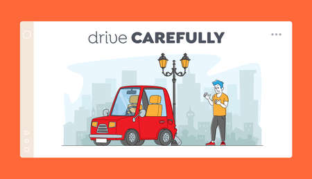 Driver after Car Accident on Road Landing Page Template. Male Character Yelling on Roadside at Automobile Bump into Lamp Post. Insurance Situation, City Dweller in Traffic. Linear Vector Illustration
