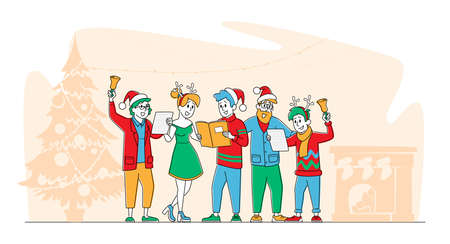 Christmas Characters in Santa Claus and Reindeer Hats Singing Xmas Carols Holding Song Books and Ringing Bell. Friends Company or Happy Family Caroling at Eve Night. Linear People Vector Illustration