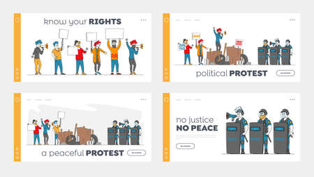 People Protesting with Placards on Barricades, Strike Demonstration Landing Page Template Set. Characters with Banners Protest Against Political Situation, Police at Rally. Linear Vector Illustration