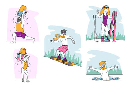 Set of Characters Temper Swimming in Ice Hole, Skiing without Clothes. Young People Pour Water Bucket on Head Getting Wet Outdoors for Strong Health and Immunity Hardening. Linear Vector Illustration Illusztráció