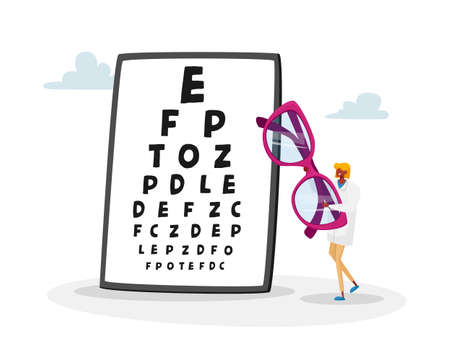 Tiny Female Doctor Character Carry Huge Eyeglasses front of Chart for Vision Checkup. Eyes Diseases Treatment and Diagnostics, Oculist Ophthalmologist Appointment Concept. Cartoon Vector Illustration