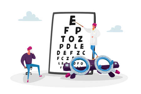Ophthalmologist Doctor Check Up Patient Eyesight for Eyeglasses Diopter. Oculist Male Character with Pointer Checkup Eye Sight. Professional Optician Exam Treatment. Cartoon People Vector Illustration