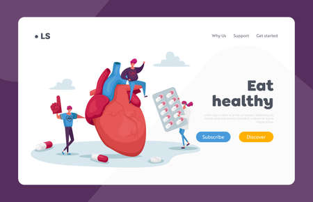 Ldl Hdl Heart Symptoms Landing Page Template. Tiny Characters at Huge Heart Cholesterol Diagnose. Laboratory Science Woman Hold Pharmacy Medicine Blister with Pills. Cartoon People Vector Illustration
