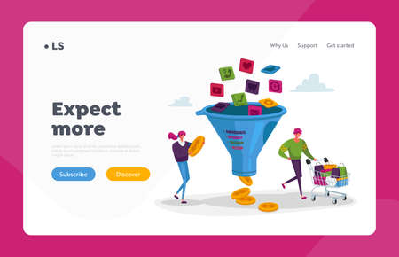 Conversion Rate Optimization Landing Page Template. Tiny Characters with Trolley and Money at Huge Sales Funnel App Icons Falling inside. Digital Marketing Lead Generation. Cartoon Vector Illustration