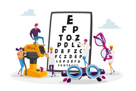 Professional Optician Exam for Vision Treatment. Ophthalmologist Doctor Character Check Eyesight for Eyeglasses Diopter. Oculist with Pointer Checkup Eye Sight. Cartoon People Vector Illustration