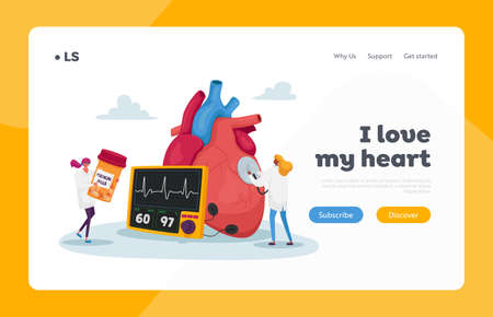 Cardiology Health, Medicine and Pills Landing Page Template. Tiny Doctor Characters at Huge Human Heart Measure Pulse and Cholesterol Level Diagnose and Treatment. Cartoon People Vector Illustration Ilustracja