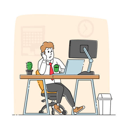 Overwork Tired Worker Character Burnout, Tiredness Fatigue and Depression. Overload Sad Businessman with Low Life Energy Power and Coffee Cup Working on Computer in Office. Linear Vector Illustration