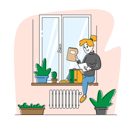 Homeworking Place, Working Activity. Freelancer Woman Character Sitting on Windowsill Work with Papers Docs at Home. Freelance Outsourced Employee Occupation, Isolation. Linear Vector Illustration