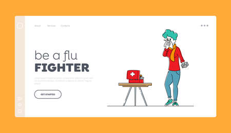 Flu or Cold Disease Infection Symptoms Landing Page Template. Ill Female Character with Medicine Drugs Sneezing with Runny Nose. Diseased Woman Suffering of Cold Virus. Linear Vector Illustration Illusztráció