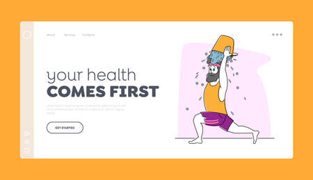 Male Character Temper himself or Support Internet Viral Challenge Landing Page Template. Young Man in Sports Wear Pouring Ice Water Bucket on Head, Extreme Hardening Body. Linear Vector Illustration