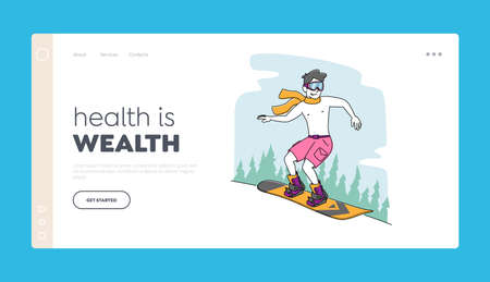 Healthy Life, Sport Landing Page Template. Young Male Character with Naked Torso and Shorts Riding Snowboard in Mountains. Man Extreme Hardening Body at Winter Time. Linear People Vector Illustration
