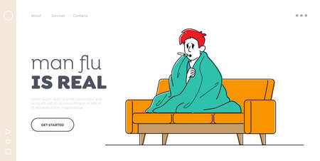 Male Character Caught Flu Landing Page Template. Sick Man Sit on Sofa Wrapped to Plaid Have Fever Measuring Temperature with Mouth Thermometer. Seasonal Disease Health Care. Linear Vector Illustration