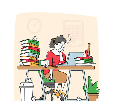 Overwork Burnout, Tiredness and Fatigue Concept. Tired Overload Businesswoman Character with Low Life Energy Power Sleeping on Office Desk with Spilled Coffee on Floor. Linear Vector Illustration