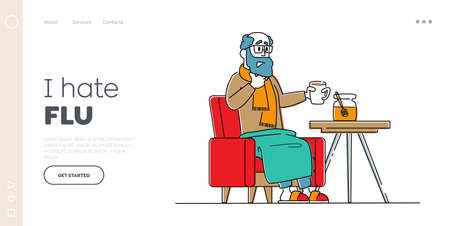 Character Caught Flu, Sickness Landing Page Template. Sick Senior Having Cold. Diseased Sad Man Drinking Hot Beverage. Medicine Disease Illness Treatment, Health Care. Linear Vector Illustration Stock fotó - 156042246