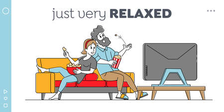 Leisure, Sparetime, Day Off Landing Page Template. Young Couple Watching TV with Popcorn at Home. Male and Female Characters Sitting on Couch in Lazy Weekend Evening. Cartoon Flat Vector Illustration