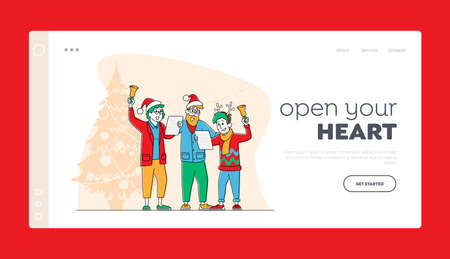 People Caroling at Xmas Night Landing Page Template. Happy Family Characters Wearing Festive Hats Singing Christmas Songs and Ringing Bells in Room Decorated with Fir Tree. Linear Vector Illustration Illusztráció