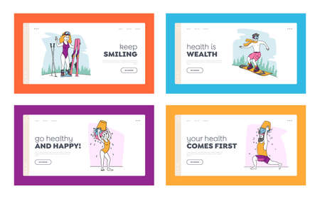 Characters Temper Landing Page Template Set. People Swimming in Ice Hole, Skiing without Clothes. Pour Water Bucket on Head Outdoors for Strong Health or Immunity Hardening. Linear Vector Illustration 向量圖像