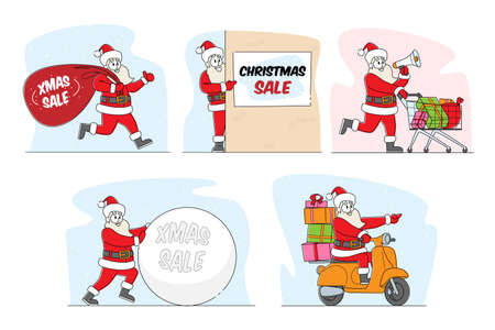 Set of Santa Claus Christmas Sale Announcement. Xmas Character in Red Festive Costume Holding Banners with Advertising Text. Stock Market or Holiday Store Discount. Linear People Vector Illustration