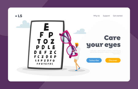 Eyes Diseases Treatment and Diagnostics Landing Page Template. Tiny Female Doctor Character Carry Huge Eyeglasses, Vision Checkup. Oculist Ophthalmologist Appointment. Cartoon Vector Illustration Illustration