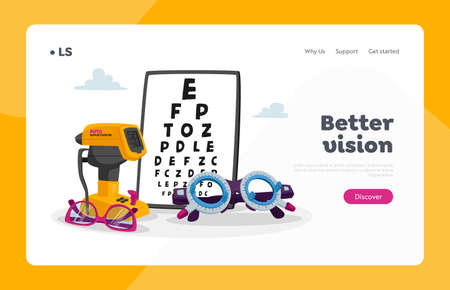 Ophthalmological Equipment Landing Page Template. Chart for Eyesight Check Up, Auto Refractometer and Eyeglasses. Oculist Optician Devices for Checking Vision, Eyes Focus. Cartoon Vector Illustration