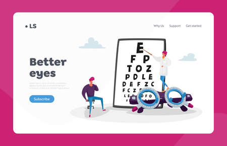 Optician Exam Landing Page Template. Ophthalmologist Doctor Check Up Patient Eyesight for Eyeglasses Diopter. Oculist Male Character with Pointer Checkup Eye Sight. Cartoon People Vector Illustration