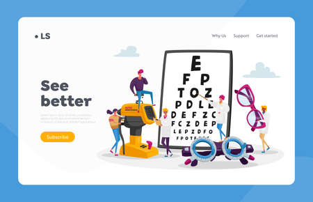 Professional Vision Optician Exam Landing Page Template. Ophthalmologist Doctor Character Check Eyesight, Eyeglasses Diopter. Oculist with Pointer Checkup Eye Sight. Cartoon People Vector Illustration