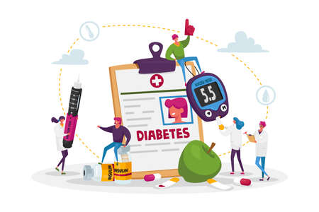 Diabetes Disease, High Sugar Level in Blood Concept. Tiny Characters with Glucose Meter and Insulin Injection Pen. Mallitus Illness Treatment, Sugar Control Therapy. Cartoon People Vector Illustration