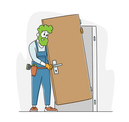 Home Repair Master Male Character Set Up New Door in Apartment. Construction Service. Engineer in Working Robe with Equipment Tools. Carpenter Repairman, Builders Work. Linear Vector Illustration