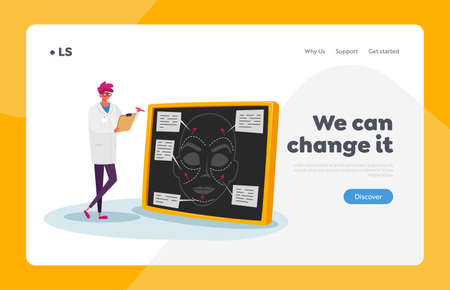 Plastic Surgery Landing Page Template. Surgeon Projecting Patient Appearance, Doctor Character Drawing Lines on Woman Face Plan. Medical Cosmetology, Healthcare Concept. Cartoon Vector Illustration Иллюстрация