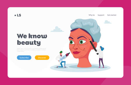Cosmetics Procedure. Beauty Medicine Industry Landing Page Template. Tiny Doctor Characters Preparing Woman for Plastic Surgery Draw Lines on Face and Put Injection. Cartoon People Vector Illustration