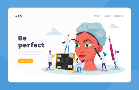 Plastic Surgery Medicine, Surgical Correction Procedure Landing Page Template. Surgeon Characters Correcting Form of Woman Face, Put Dotted Line with Marker on Skin. Cartoon Vector People Illustration