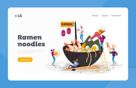 Asian Food Cafe Landing Page Template. Tiny Characters Cooking and Eating Ramen or Pasta, People Put Condiments in Huge Bowl with Noodles, Shrimps and Eggs, Pour Sauce. Cartoon Vector Illustration
