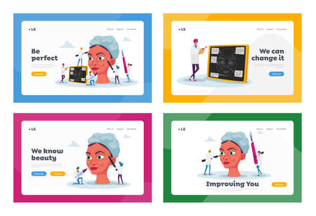 Plastic Surgery Medicine, Surgical Correction Procedure Landing Page Template Set. Surgeon Characters Correcting Woman Face, Put Dotted Line with Marker on Skin. Cartoon Vector People Illustration