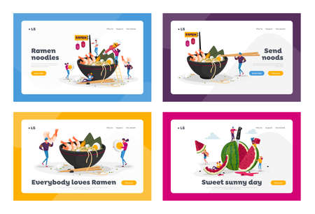 Asian Food Cafe, Watermelon Snack Landing Page Template Set. Tiny Characters Cooking and Eating Ramen or Pasta, People Put Condiments in Bowl with Noodles, Fruit Season. Cartoon Vector Illustration