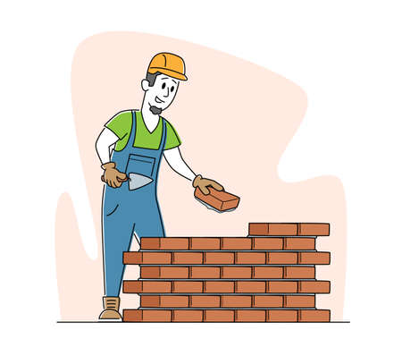 Builder Male Character Wearing Helmet and Uniform Holding Trowel Put Concrete for Laying Brick Wall Completed and Rejoice of Work. Man Engineer at Construction Site. Linear Vector Illustration