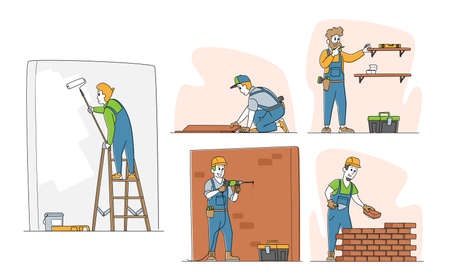 Set of Home Repair Characters. Workers in Robe Carpentry and Maintenance Works Painting and Drilling Wall, Laying Bricks, Fitting Laminate on Floor and Hanging Shelf. Linear People Vector Illustration