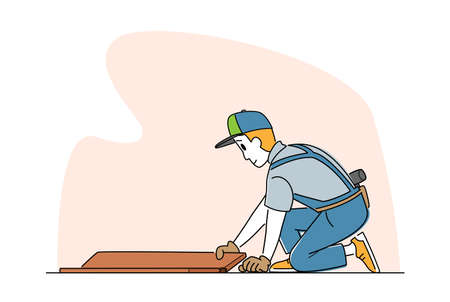 Laminate Flooring Service. Worker Character with Tools Sitting on Floor Fitting Laminate Pieces. House Work, Handyman Business. Home Renovation and Repair Carpentry Works. Linear Vector Illustration Vetores