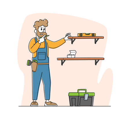 Furniture Assembly Service. Carpenter Worker Character with Tools and Level Assembling Home Furniture Hanging Shelves on Wall with Construction Instruments in Toolbox. Linear Vector Illustration