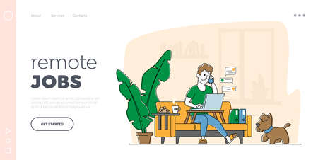 Freelance , Homeworking Place Landing Page Template. Man Freelancer Character Sitting on Sofa Working Distant on Laptop from Home. Worker Workflow Process, Remote Workplace. Linear Vector Illustration