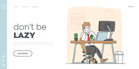 Overwork Tired Worker Character Burnout, Tiredness Fatigue Landing Page Template. Overload Businessman with Low Energy Power and Coffee Cup Working on Computer in Office. Linear Vector Illustration