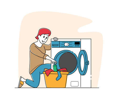 Female Character in Public Laundry Laying Clean Clothes to Basket Loading Dirty Clothing to Laundromat Machine. Industrial or Domestic Launderette Washing, Cleaning Service. Linear Vector Illustration