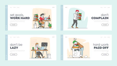 Tired Workers in Office Landing Page Template Set. Overworked Business Characters Sleep on Workplace Desk. Laziness, Emotional Burnout, Employees Sleeping, Deadline. Linear People Vector Illustration