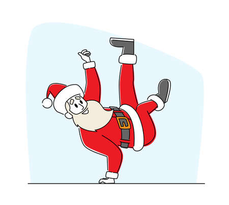 Santa Claus in Red Traditional Costume and Hat Dancing Brake Standing on One Arm. Cool Christmas Character Performing