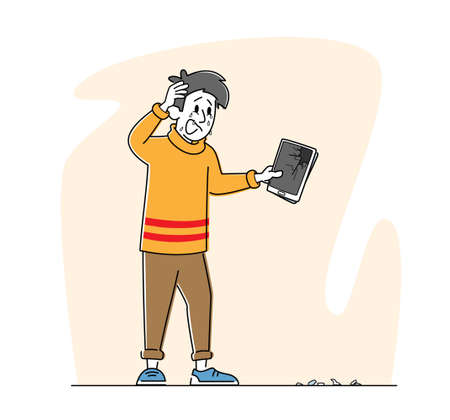 Upset Male Character Holding Broken Tablet with Splinters on Ground. Man with Smashed Gadget on Street Unlucky Situation