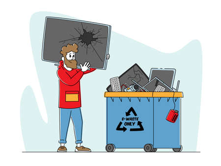 E-waste Recycling, Nature Protection Concept. Character with Broken TV front of Litter Bin for Electronics Appliances Vecteurs