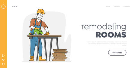 Worker Carpentry Woodwork Landing Page Template. Carpenter Character with Circular Saw Working in Workshop Sawing Planks