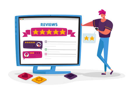 Male Character Negative User Experience Online Review. Displeased Client Leave Bad Feedback for Internet Service Ranking